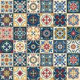Ursnygg sömlös modell Marockanskt portugistegelplattor, Azulejo, prydnader Arkivbild