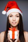 Ursnygg santa flicka Arkivbilder