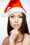Ursnygg santa flicka Fotografering för Bildbyråer