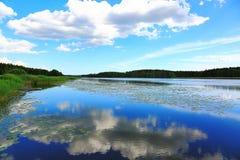 Ursnygg sikt av det naturliga landskapet på en sommardag Sjö och blå himmel som konvergerar på horisonten Himmel som reflekterar  Royaltyfri Bild