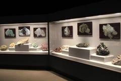 Ursnygg skärm av mineraler som finnas i en av många, hyr rum, det statliga museet, Albany, New York, 2016 Royaltyfri Fotografi