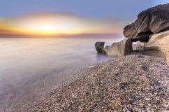 ursnygg solnedgång Arkivfoton
