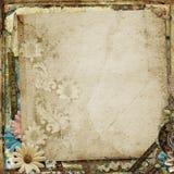 Ursnygg tappningbakgrund för Grunge med blommor Royaltyfria Bilder