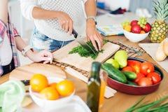 Ursnygga unga kvinnor som förbereder matställen i ett kök Royaltyfria Bilder