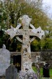 Ursnyggt keltiskt kors i gammal kyrkogård Royaltyfri Bild