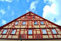 Ursnyggt korsvirkes- hus i Tyskland Arkivfoton