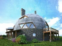 Ursnyggt kupolhem av framtiden Grön design, innovation, arkitektur stock illustrationer