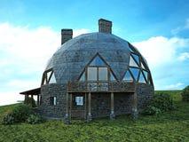 Ursnyggt kupolhem av framtiden Grön design, innovation, arkitektur royaltyfri illustrationer