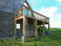 Ursnyggt kupolhem av framtiden Grön design, innovation, arkitektur vektor illustrationer