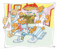 Urso à dor de dente do dentista ilustração do vetor