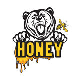 Urso, abelha e mel Imagens de Stock