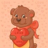 Urso bonito com coração Imagens de Stock Royalty Free