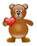 Urso bonito com coração ilustração do vetor