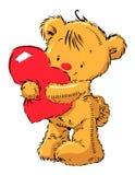 Urso bonito com coração Fotografia de Stock Royalty Free