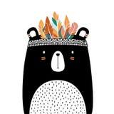 Urso bonito com estilo tribal da pena isolado no fundo branco ilustração stock