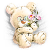 Urso bonito com flores Ilustração do Vetor