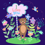 Urso bonito com fundo floral e placa com espaço vazio para o texto Fotografia de Stock
