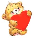 Urso bonito de Valentine Dayand e coração vermelho watercolor ilustração royalty free