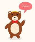 urso bonito dos desenhos animados com bolha do discurso ilustração stock