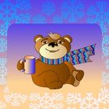Urso bonito dos desenhos animados em um lenço com um copo Imagem de Stock