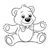 Urso bonito dos desenhos animados Ilustração preto e branco do vetor do vetor para o livro para colorir ilustração do vetor