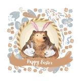 Urso bonito e seus coelhos pequenos Ilustração tirada mão da aguarela Cartão de easter feliz ilustração do vetor