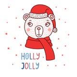 Urso bonito em um chapéu de Santa ilustração royalty free