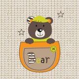 Urso bonito no bolso ilustração royalty free