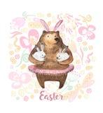 Urso bonito que guarda dois coelhos pequenos Ilustração tirada mão da aguarela Cartão de easter feliz ilustração do vetor