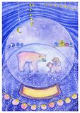 Urso branco com os dois filhotes na bola de neve no fundo decorativo ilustração stock