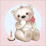 Urso com bolo ilustração do vetor