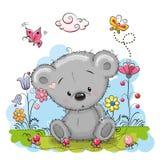 Urso com flores ilustração do vetor