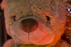 Urso com fundo das luzes de Natal Fotos de Stock Royalty Free