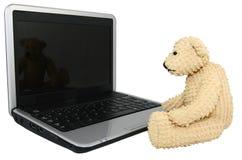 Urso com o mini computador superior de regaço Fotografia de Stock Royalty Free
