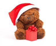 Urso com presente Imagens de Stock