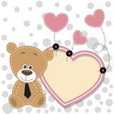 Urso com quadro do coração ilustração stock