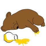 Urso com um frasco do mel Fotos de Stock