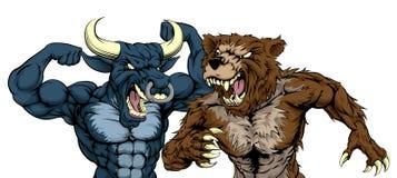Urso contra o conceito de Bull Imagens de Stock Royalty Free