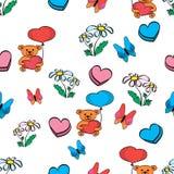 Urso da borboleta das flores com um teste padrão do coração ilustração do vetor