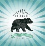 Urso da etiqueta do vintage Projeto para o t-shirt handmad Imagem de Stock Royalty Free