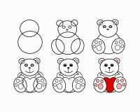 Urso da lição do desenho Fotos de Stock Royalty Free
