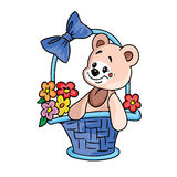 Urso da peluche com as flores na cesta do presente Imagem de Stock Royalty Free