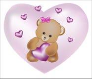 Urso da peluche com coração cor-de-rosa Imagem de Stock Royalty Free