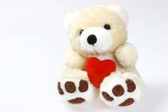 Urso da peluche com coração e espaço Fotos de Stock Royalty Free