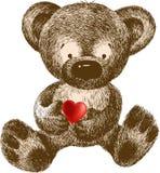 Urso da peluche com coração, mão-desenho. Illust do vetor ilustração do vetor