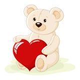 Urso da peluche com coração vermelho ilustração do vetor