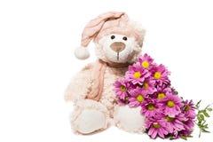 Urso da peluche com flores fotografia de stock