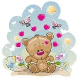 Urso da peluche com flores ilustração do vetor
