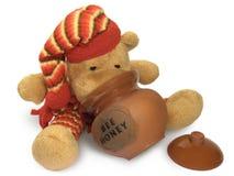 Urso da peluche com potenciômetro do mel imagem de stock