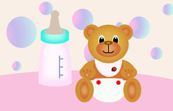 Urso da peluche e frasco de bebê Fotos de Stock Royalty Free